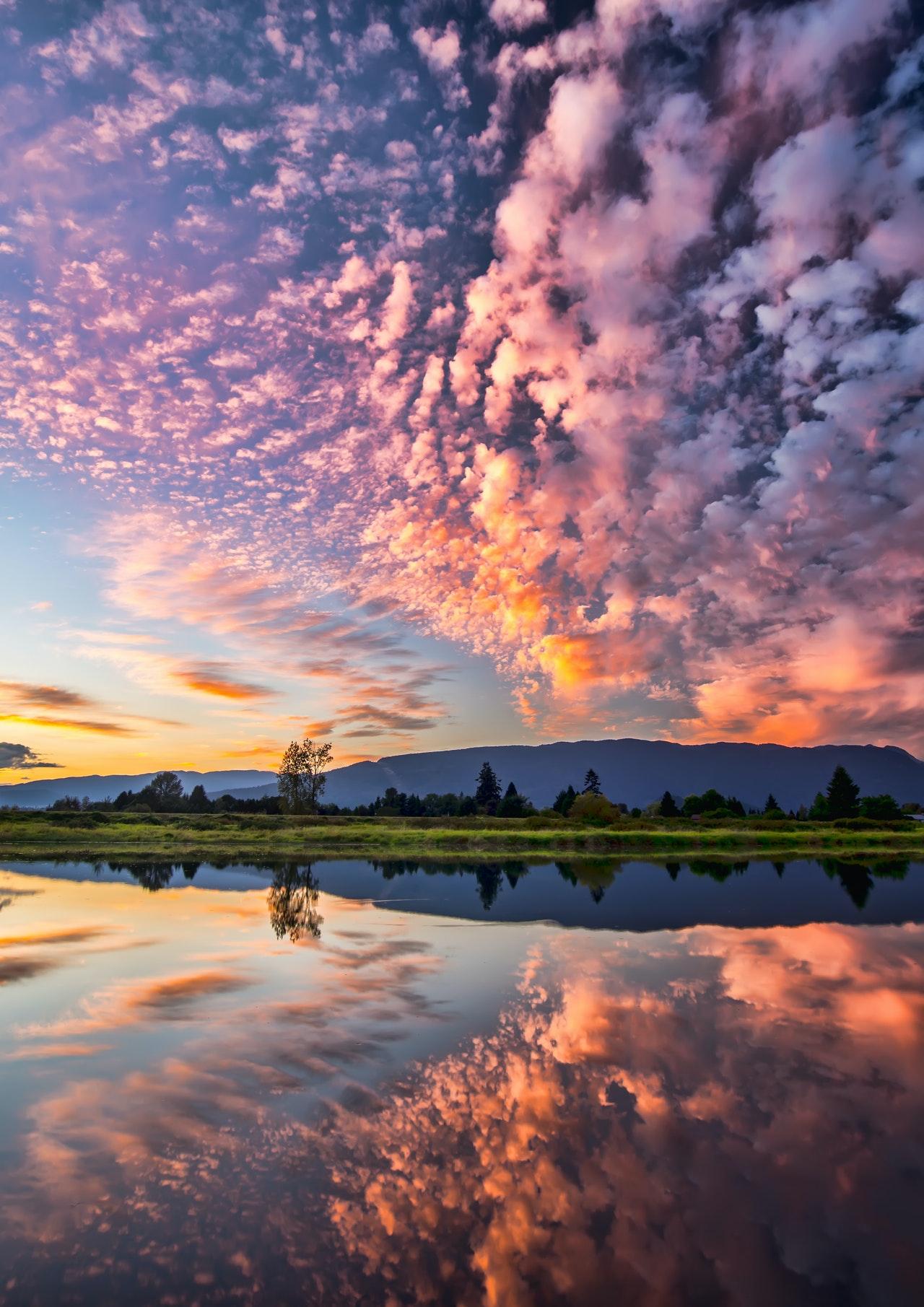 beautiful lake with cloud reflection